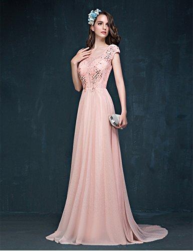 Kleid Pink Great mit Damen CL0014A Party Ballkleid Bright Flügelärmeln znnfUqxHpw
