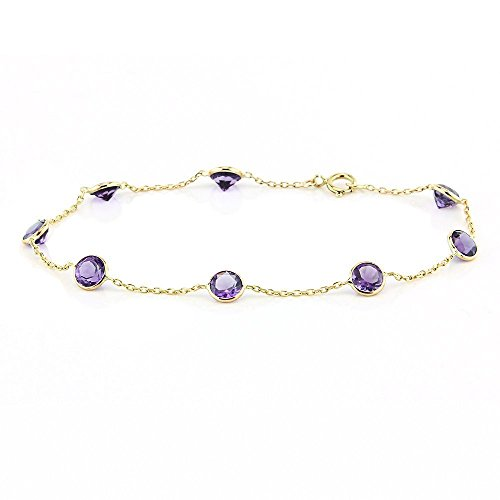 14k Yellow Gold Handmade Bracelet with Round 5mm Amethysts 7 Inches -
