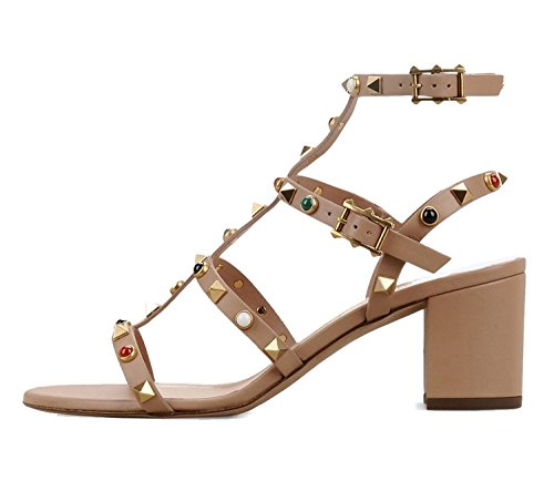 Juoar Women's Open Toe Ankle Strap Buckle High Heels Gladiator Rivets Sandals For Casual Dress Shoes Patent Leather Nude US10