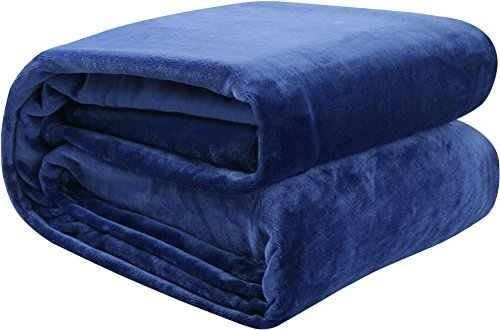 Price comparison product image Flannel Fleece Blanket Navy Blue (King) Lightweight Cozy Couch/Bed Blanket – Plush Microfiber - Solid Color - Utopia Bedding