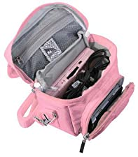 G-HUB - GAME & CONSOLE TRAVEL BAG for NINTENDO DS (Fits ALL Foldable Screen Versions but not 2DS Model Version) - Includes Shoulder Strap + Carry Handle + Belt Loop - PINK