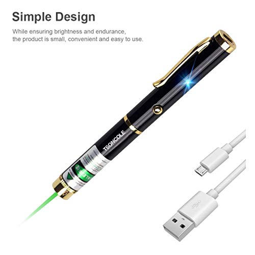 TSONCOLE USB Presentation Pen Rechargeable Cat Laser Toys Interactive for Cats Catch Teasing Scratching Interactive Exercise Training Tool