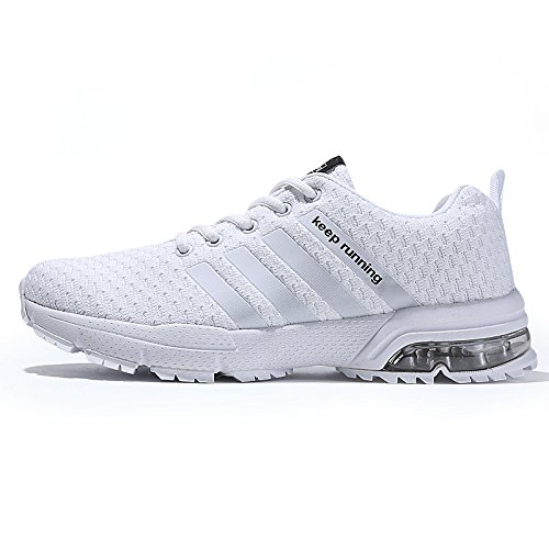 XIDISO Mens Running Shoes Lightweight Air Cushion Athletic Jogging Walking Sport Tennis Shoe for Men White, 12 Women / 10 Men (Best Shoes For Jogging And Running)