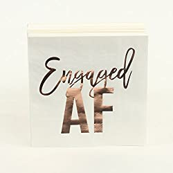 Andaz Press Rose Gold Foil Lunch Napkins, Engaged AF, 6.5-inch, 50-Pack, Shiny Metallic Tableware for Wedding Bridal Shower, Engagement Party, Party Napkins in Bulk