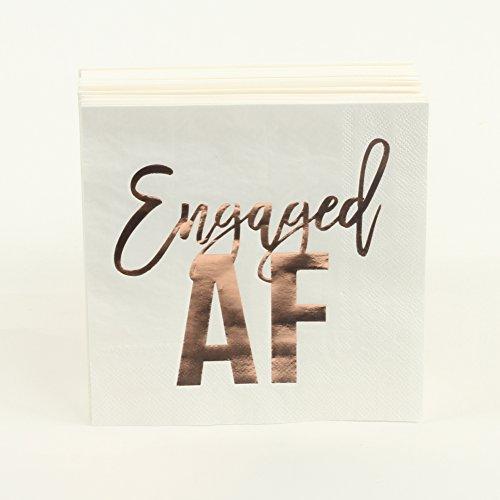 Andaz Press Rose Gold Foil Lunch Napkins, Engaged AF, 6.5-inch, 50-Pack, Shiny Metallic Tableware for Wedding Bridal Shower, Engagement Party, Party Napkins in Bulk -