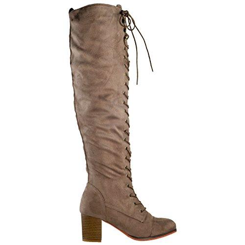 Génération Y Femmes Genou Bottes Hautes Chunky Bloc Talon Rétro Lacets Chaussures Western Taupe
