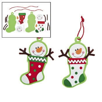 Arts And Crafts Christmas Ornaments (12 - Snowman Stocking Ornament Craft Kit - Crafts for Kids & Ornament Crafts)
