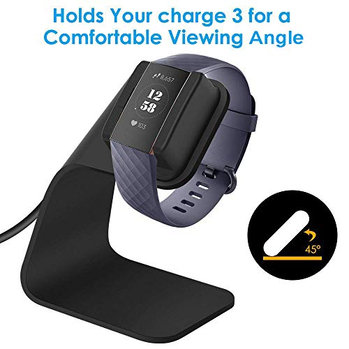 CAVN Compatible with Fitbit Charge 3 Charger Dock, Replacement Charging Cable Cord Stand Cradle Base 4.2 ft USB Cable Accessories Compatible Fitbit Charge 3 / Charge 3 SE Smartwatch (Black)