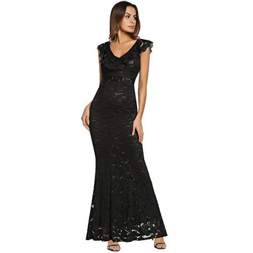 Damen Kleider Spitzekleid Longra Blumenspitzekleid Damen Elegant ...