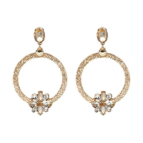 Baqijian Big Long Earrings Women Rhinestone Cross Earrings Jewelry Pending Statement Earring ()