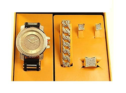 Bling-ed Out It's Lit! Hip Hop Watch & Jewerly Set w/Cuban Chain Bracelet, Kite Bling Earrings & Ring - GJM13 Gold ()