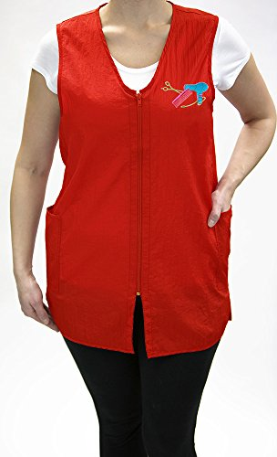 Logo Zipper - Long Zipper Stylist Vest with Pockets and Designer(DS) Logo by Charlene (S, RED)