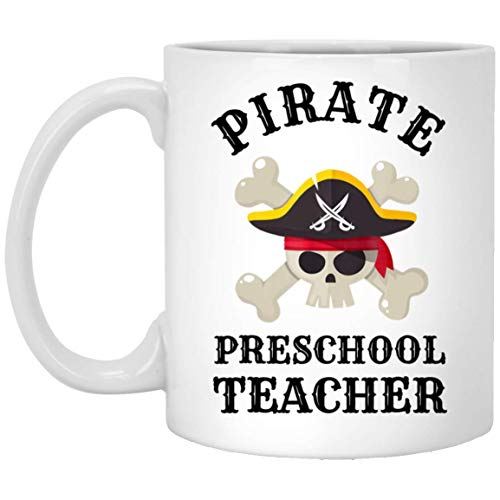 Pirate Preschool Teacher Gift Idea Halloween 11 oz. White Mug ()