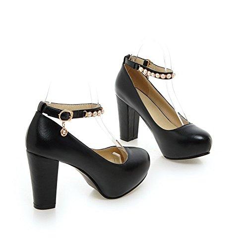 1to9 Dameskraal Dikke Hak Bezaaide Steentjes Metalen Gespen Polyurethaan Pumps-schoenen Zwart