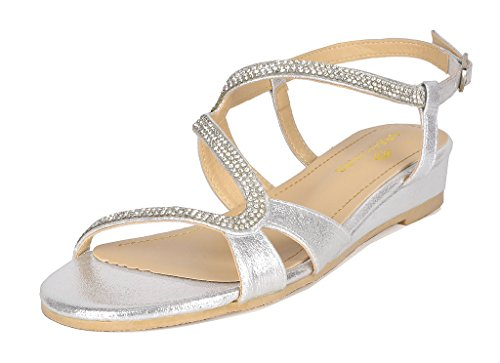 DREAM PAIRS Women's Formosa_1 Silver Low Platform Wedges Slingback Sandals Size 6 B(M) US by DREAM PAIRS