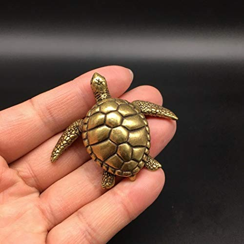 XOBULLO Statues Collectable Brass Carved Animal Scarab Sea Turtle Gold Tortoise Exquisite Small Sculpture