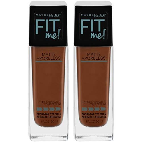 Maybelline Fit Me Matte + Poreless Liquid Foundation Makeup, Deep Bronze, 2 COUNT Oil-Free Foundation