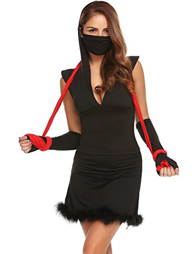 ACEVOG Deadly Ninja Women's Sexy Halloween Costume Dress (Deadly Ninja Sexy Costumes)