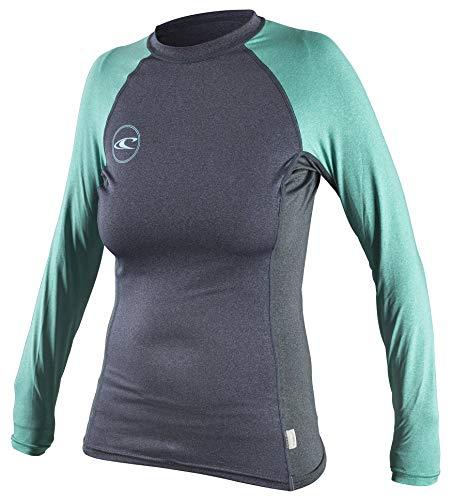 O'Neill Premium Women's Long Sleeve Crew Rashguard, XL, Slate Black Seaglass, X-Large