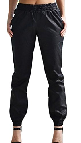 MLG Women Faux Leather Pockets High Waisted Jogger Palazzo Pant Black S