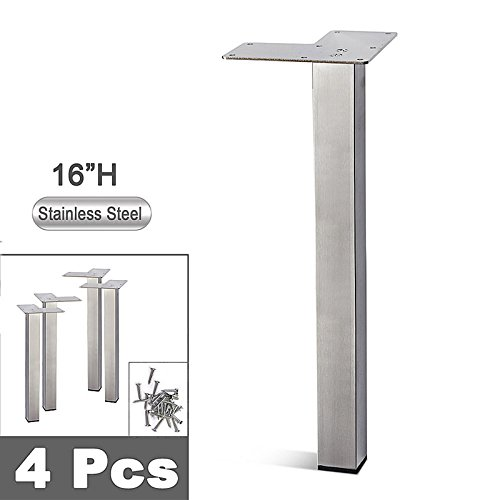 (Stainless Steel Metal Sofa Legs, Furniture Legs, Square Tube, Straight Design - Set of 4 New (16