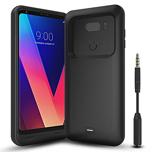 LG V30 Battery Case with Audio Jack Cable, ALCLAP 4400mAh Portable Charging Case Extended Rechargeable Power Charger Case for LG V30(6 inch)Battery Pack/Sync-Through Tech[USB Type C Cable Input]-Black by ALCLAP
