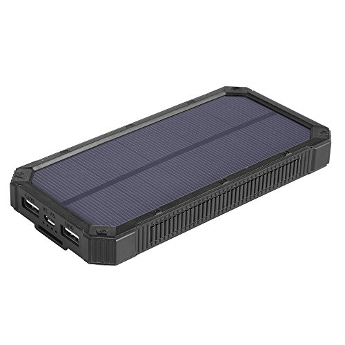 Solar Charger, Soluser Solar Power Bank 15000mAh Solar Panel External Battery with 6LED Flashlight Backup Battery Pack