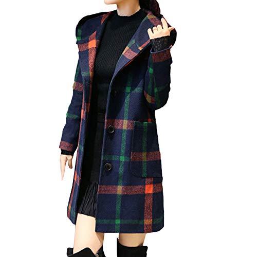 KASAAS Womens Fashion Trend Long Sleeve Hooded Plaid Button Jacket Woollen Coat (L, Green) ()