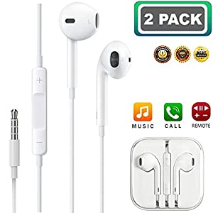 [2 Pack] Headphones/Earphones/Earbuds, ebasy 3.5mm Wired Headphones Noise Isolating Earphones with Built-in Microphone & Volume Control Compatible with Phone Pod Pad Samsung/Android / MP3 MP4