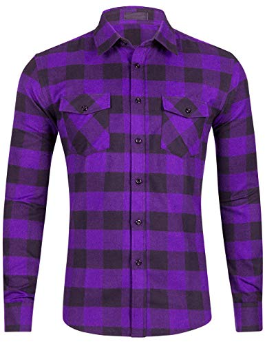 DOKKIA Men's Dress Buffalo Plaid Checkered Fitted Long Sleeve Flannel Shirts (Purple Black Buffalo, Small)