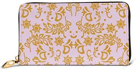 もつれた結婚式紫 本革長財布 ファスナー財布 おしゃれ 大容量 男女共用高級おしゃれなジップレザーウォレットロングハンドバッグ