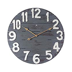 Tree House 24 inch Decorative Open Face Dark Blue/Grey Wooden Wall Clock with Quiet Quartz Movement, Gold Metal Hands, Easy-to-Read Wooden Numbers - Large Wooden Decorative Rustic Clock Easy Hang
