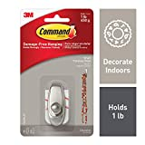 Command Timeless Hook, Small, Brushed Nickel, 1-Hook (17062BN-ES)