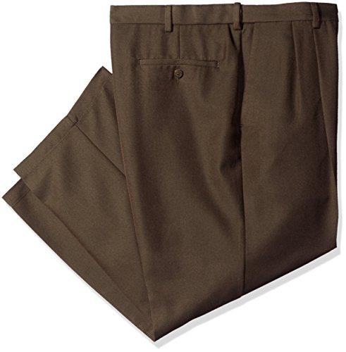 (Haggar Men's Big Cool 18 Gabardine Hidden Expandable Waist Pleat Front Pant, Heather Brown, 46x34)
