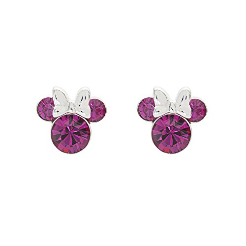 Disney Women's Jewelry Minnie Mouse Silver Plated Brass October Birthstone Stud Earrings Mickey's 90th Birthday Anniversary ()