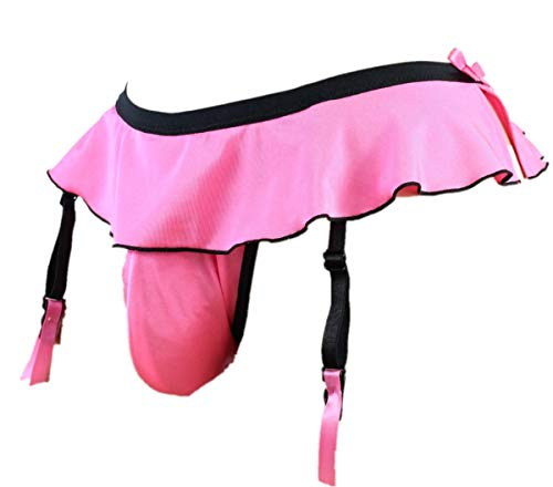 aishani Sissy Pouch Panties Mens Skirted Mooning Bikini Briefs Gay Underwear Sexy for Men (L, Pink)
