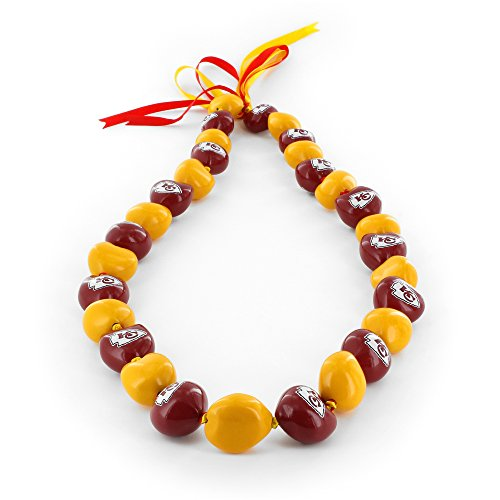 aminco NFL Kansas City Chiefs Kukui Nut Necklace, Red/Yellow -