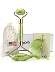 eDiva Chi Jade Rolling Kit | 100% Natural Jade Roller | Gua Sha Tool | Anti Aging Massage and Lymph Drainage Tool for Face, Eye, Neck, Body | For Lymphatic Massage, Wrinkles, Puffiness, and Fine Lines