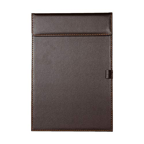 Heatleper 1Pcs A4 PU Leather Clipboard Documents Files Clipboard Painted with Penholder for Business Office Restaurant (Brown)