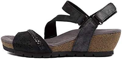 PLANET Tatiana Black Nubuck Black Womens Flat Sandals Summer