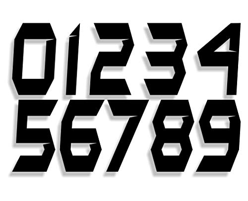 Mx & ATV Number Plate Decals | Set of 3 Decals with Your Custom Number & Color Choice | Sliced Font Style 5