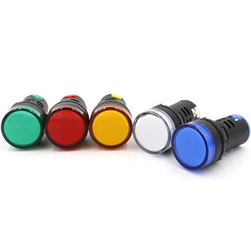 Baomain AD16-22D/S31 AC 220V 20mA Energy Saving LED Indicator Light Green Yellow Red Blue White 5 Pcs ()