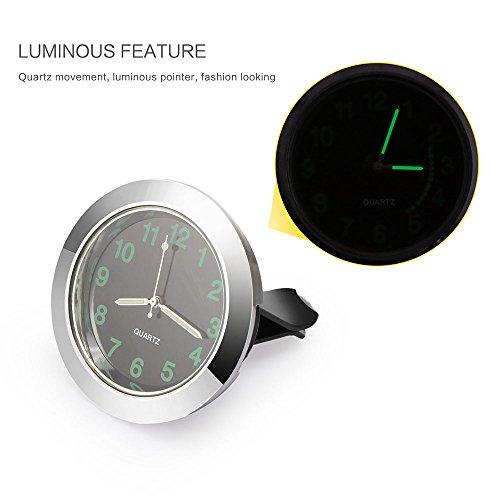 Powstro Car Dashboard Clock Car Air Vent Clip Quartz Clock Mini Auto Interior Watch Luminous Watch Perfect Decoration for Cars, ()