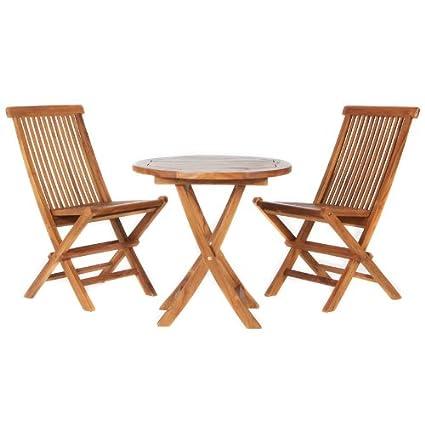 Prime Amazon Com All Things Cedar Ts26 Set 3Pc Teak Bistro Set Bralicious Painted Fabric Chair Ideas Braliciousco