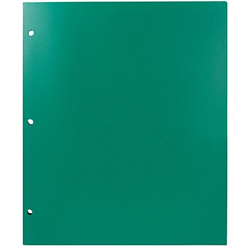 JAM Paper Heavy Duty Plastic 2 Pocket 3 Hole Punched School Presentation Folder - Green - Sold Individually