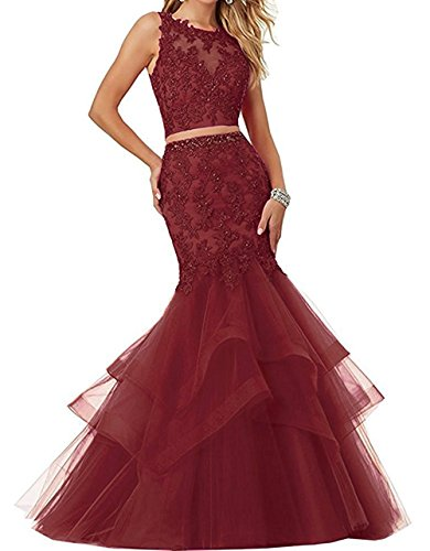 GURNALL Two Piece Mermaid Prom Dress Tulle Lace Applique Long Evening Gown Burgundy Size 8 by GURNALL
