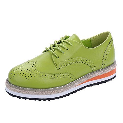 VFDB Women Wingtip Oxfords Shoes Platform Flat Wedges Lace Up Dress Shoes (Platform Lace Shoe Saddle Up)