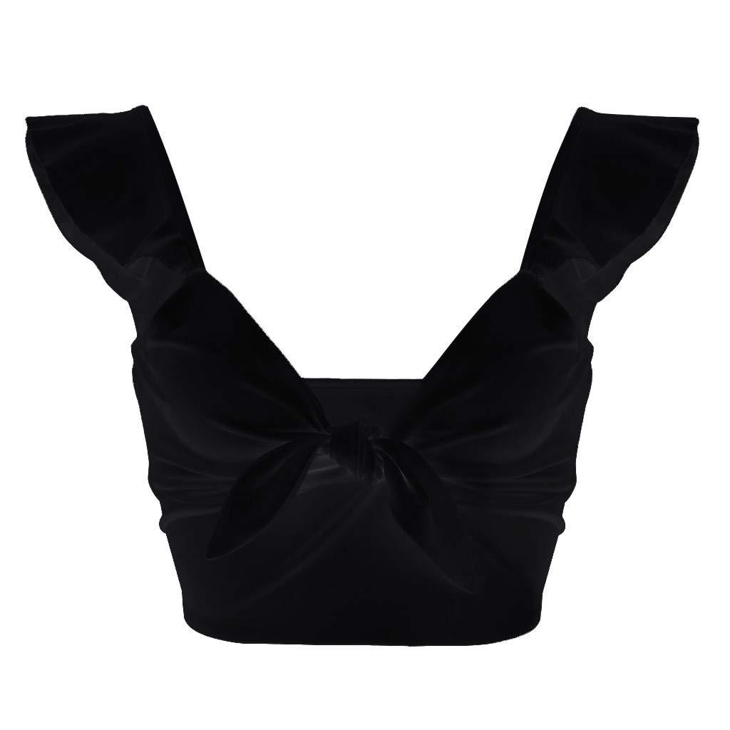 Muyise Sommer Frauen Blusen einfarbig Mode Tops Kurze Schlinge eng gekr/äuselten Shirt Verband Hemd Weste