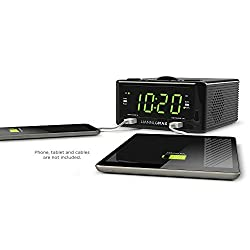 Hannlomax HX-300CD Top Loading CD Player, PLL FM Radio, 1.2 Digital Clock, Dual Alarm, USB Ports for 2.1A & 1.2A Charging, Aux-in