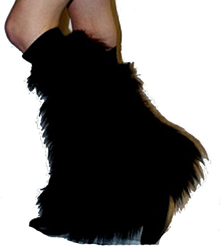 Black Fluffy Furry Boot Covers Legwarmer Neon Party Rave Clubwear Dance (Pink Fluffies Leg Warmers)